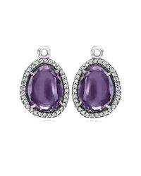 Pandora - Multicolor Glamorous Legacy Silver Amethyst & Cz Earring Charms - Lyst