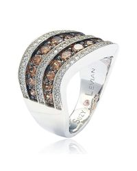 Suzy Levian - Brown And White Cubic Zirconia Sterling Silver Ring - Lyst
