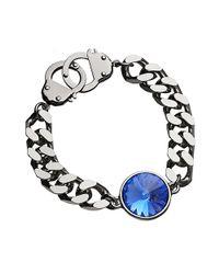 Eklexic - Metallic Crystal Curb Chain & Handcuff Clasp Bracelet (silver / Sapphire) - Lyst