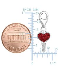 JewelryAffairs - White Sterling Silver And Crystal Clip On Heart Shape Key Charm - Lyst
