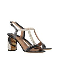 Ferragamo - Women's 0633579 Black Leather Sandals - Lyst