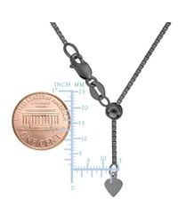 """JewelryAffairs - White Sterling Silver Black Ruthenium Plated 22"""" Sliding Adjustable Box Chain Necklace, 1.4mm - Lyst"""