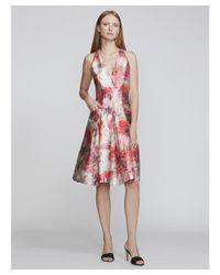 Carmen Marc Valvo | Red V-neck Floral Sateen Cocktail | Lyst