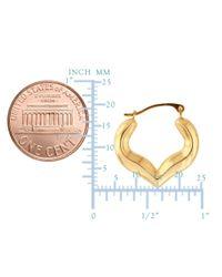 JewelryAffairs - 10k Yellow Gold Shiny Heart Shape Fancy Hoop Earrings, Diameter 18mm - Lyst