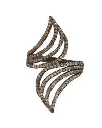 Adornia - Metallic Champagne Diamond Orly Ring - Lyst