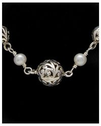 Lois Hill - Metallic Silver 4mm Pearl Scroll Necklace - Lyst