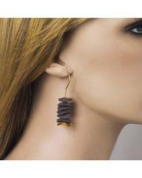 Jewelista   Yellow 24k Gold Plated Brass & Ceramic Drop Earrings   Lyst