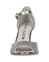 Anne Klein - Metallic Henrika Ankle Strap Peep Toe Heels, Light Gold - Lyst