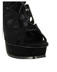 Saint Laurent - Women's 439273c20001000 Black Suede Sandals - Lyst