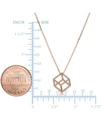 JewelryAffairs - Pink 14k Rose Gold 3d Cube Pendant Adjustable Necklace, 18 - Lyst