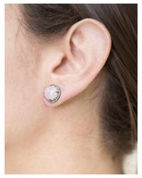Adornia - Pink Morganite And Diamond Corina Cabochon Double Halo Studs - Lyst