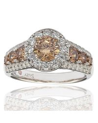 Suzy Levian - Bridal Sterling Silver Brown And White Cubic Zirconia Engagement Ring - Lyst