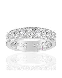 Suzy Levian - Sterling Silver White Cubic Zirconia Three Row Modern Eternity Band - Lyst