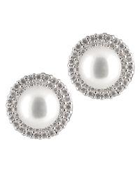 Splendid - White Double Row Cz Halo Pearl Stud Earrings - Lyst