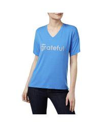 Peace Love World - Blue Mia Grateful Graphic V-neck T-shirt - Lyst