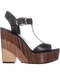 Vince Camuto - Oriana Wedge Platform T-strap Sandals, Black - Lyst
