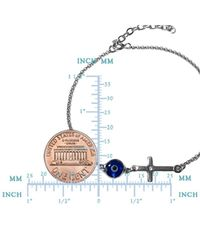 """JewelryAffairs - Metallic Side Ways Cross Double Sided Evil Eye Adjustable Anklet In Sterling Silver, 9.5"""" To 11 - Lyst"""