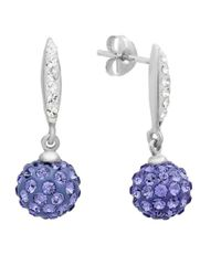 Amanda Rose Collection - Metallic Sterling Silver Dangle Earrings Made With Purple And White Swarovski Crystals - Lyst