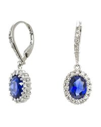 CZ by Kenneth Jay Lane - Blue 4cttw Oval Cz Pave Ears - Lyst