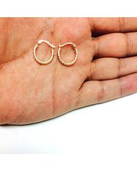 JewelryAffairs - 10k Yellow Gold Shiny Diamond Cut Round Hoop Earrings, Diameter 15mm - Lyst