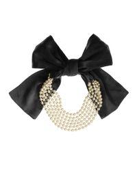 Ben-Amun - Ben Amun Pearl Strand Row Black Silk Ribbon - Lyst