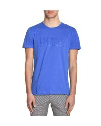 BOSS - Men's Blue Cotton T-shirt for Men - Lyst