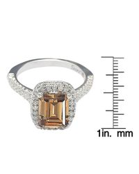 Suzy Levian - Bridal Brown Cubic Zirconia With Halo Sterling Silver Ring - Lyst