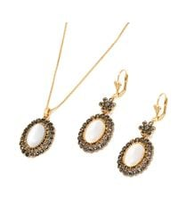 Peermont - Metallic Gold And Marcasite Drop Earrings And Pendant Necklace Set - Lyst