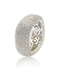 Suzy Levian - White Sterling Silver Cubic Zirconia Square Pave Eternity Ring - Lyst