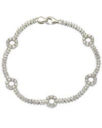 "Suzy Levian - White Pave Cubic Zirconia Sterling Silver 7.25"""""""" Floral Tennis Bracelet - Lyst"