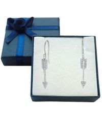 JewelryAffairs   White Sterling Silver And Cubic Zirconia Hanging Arrow Shape Drop Earrings   Lyst