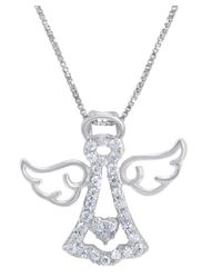 Amanda Rose Collection - Metallic Sterling Silver Angel Pendant-necklace Made With Swarovski Zirconia - Lyst