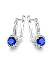 Peermont - Metallic 18k White Gold Plated Swarovski Crystal & Blue Sapphire Spinel Huggie-earrings - Lyst