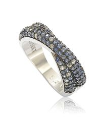 Suzy Levian - Metallic Sterling Silver Blue & White Sapphire & Diamond Accent Petite Pave Crossover Ring - Lyst