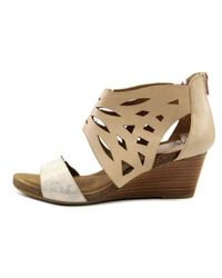 Söfft - Natural Mystic Women Open Toe Leather Nude Wedge Sandal - Lyst