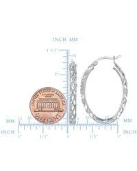 JewelryAffairs - White Sterling Silver Rhodium Finish Shiny Diamond Cut Weaved Oval Hoop Earrings, Diameter 30mm - Lyst