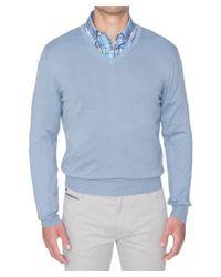 Robert Talbott - Blue Toyon Cotton V-neck Sweater for Men - Lyst