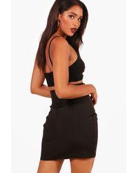 Boohoo - Black Woven Lace Up Bodycon Mini Skirt - Lyst