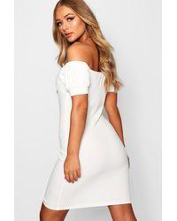 Boohoo White Off The Shoulder Button Detail Bodycon Dress