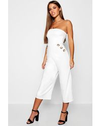 0411f751b98d Boohoo Petite Mock Horn Button Bandeau Jumpsuit in White - Lyst