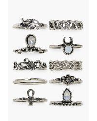 Boohoo - Metallic Daisy 10 Piece Stone Set Ring Pack - Lyst
