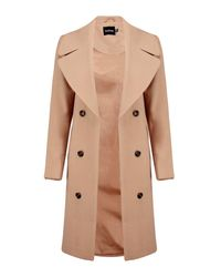 0ea12038c Boohoo Maya Oversized Collar Double Breasted Coat in Natural - Lyst