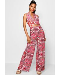 6883648972a5 Lyst - Boohoo Hailey Neon Paisley Trouser Co-ord Set in Pink