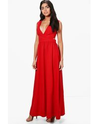 Boohoo - Red Louise Lace Up Back Maxi Dress - Lyst