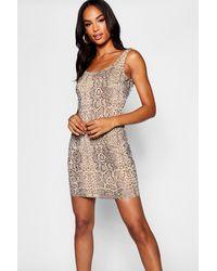 df4e7dc5bf4e Boohoo Tall Scoop Neck Snake Print Bodycon Dress - Lyst