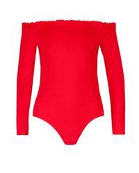 Boohoo - Red Mia Frill Trim Bardot Body - Lyst
