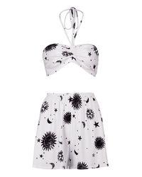 Boohoo - White Faye Star Print Bralet & Short Co-ord - Lyst