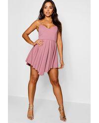 60fbfab04ac6 Boohoo Scuba Strappy Pleated Skater Dress in Purple - Lyst