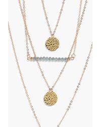 Boohoo - Metallic Alex Bead Triple Coin Layered Necklace - Lyst