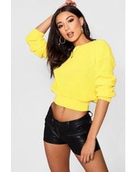 Boohoo - Yellow Crop Fisherman Jumper - Lyst